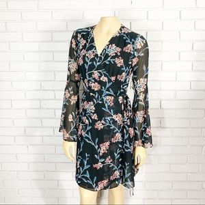 Cynthia Steffe Rich Black Floral Wrap Dress